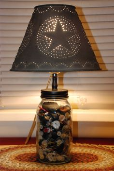 Button mason jar lamp