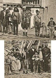 Kelkit köyü y. 1897 Osmanlı Gümüşhane vilayeti  |Men and children in daily costumes, in Kelkit (a small rural town in the Gümüşhane province), ca. 1897