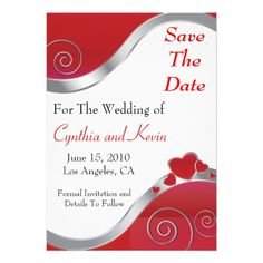 Red Hearts Swirls - Save The Date Personalized Invitations