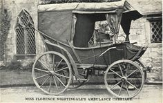 Florence Nightingale's ambulance carriage, parked outside of a stone church.