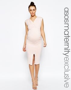 ASOS Maternity Midi Bodycon Dress With Ruching And Split