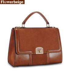 100% Genuine Leather Women Messenger Bag Vintage Casual Shoulder Bag Women Leather Handbag Fashion Tote Bolsas Crossbody Bag - HandBagList