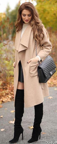 Classic, Camel Coat On White Cashmere / fall fashion Inspiration.