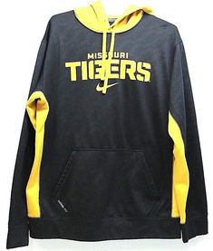 0bdb6179a78 Men s Nike Therma Fit University Of Missouri Tigers Mizzou Hoodie Black  Medium