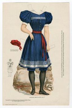 Бумажные куклы, ретро .Костюм для купания 1895