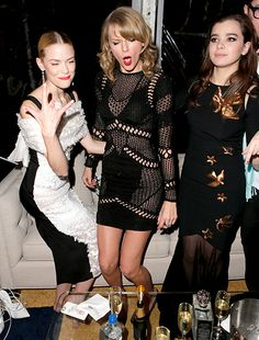 Jaime King, Taylor Swift and Hailee Steinfeld busting a move at The Weinstein Company & Netflix's after party