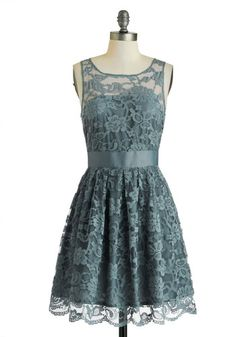 When the Night Comes Dress in Smoke by BB Dakota - Lace, Party, A-line, Sleeveless, Exclusives, Solid, Scoop, Wedding, Sheer, Bridesmaid, Graduation, Daytime Party, Variation, Mid-length, Grey, Blue, Halloween, Holiday Party, Valentine's, Prom, Spring, Top Rated, Lace