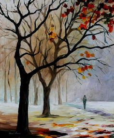 "WINTER SILENCE — PALETTE KNIFE Oil Painting On Canvas By Leonid Afremov - Size 30""x24"""