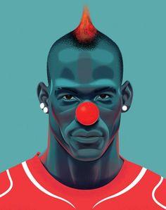 Inspiration | Balotelli Pop Art Portrait By Nigel Buchanan