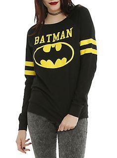 DC Comics Batman Varsity Girls Pullover Top, BLACK