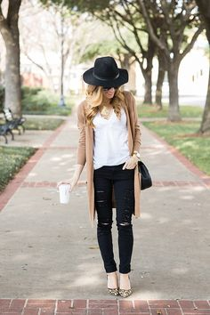 long camel cardigan outfit, distressed black skinny jeans, leopard heels, black fedora