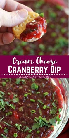 Looking for some delicious recipe ideas for your Christmas party? Make this Cream Cheese Cranberry Dip. It's Cranberry Cream Cheese Dip Layered with Cream Cheese, Cranberries, Green Onion and Cilantro! Amazing Holiday Appetizers! Save this delicious cranberry recipe for later! Want more family fall recipes? Visit julieseatsandtreats.com now! #cranberry #dip #appetizer #fall #Christmas Halloween Appetizers, Christmas Appetizers, Holiday Appetizers, Appetizers For Party, Cranberry Appetizer Recipes, Christmas Recipes, Appetizer Ideas, Thanksgiving Appetizers, Cranberry Recipes Thanksgiving