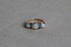 Antique Early 1900's Edwardian 14k Gold Opal and Sapphire Engagement Ring Setting - Size 5 1/2 Vintage Filigree Fine Jewelry by CalhounsJewelers on Etsy