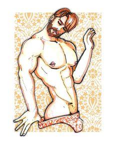 #gayart #Gay #Art #Man #tattoos #Illustration #boy #Muscels