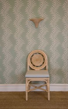 The Rattan Carousel Chair, The Rattan Nasturtium Wall Light and Scrolling Fern Frond Wallpaper by Soane Britain. Fern Frond, Hand Printed Fabric, Spring Collection, Ferns, Master Bathroom, Rattan, Accent Chairs, Wall Lights, Wallpaper