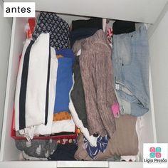 Gaveta com #blusas #shorts e #calças.  Quer ver o depois? Acompanha o próximo post. #ligiapessoaorganizer #personalorganizerrecife