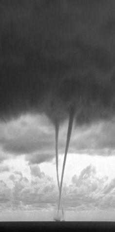 Impressive double waterspout