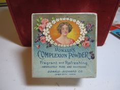 1910's-20's Face powder box Donald's Complexion Powder nice graphics of lady framed in flowers full of powder.