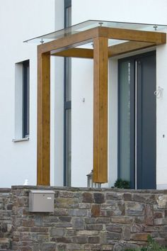 Picture result for dach wood modern - All About Balcony House Design, New Homes, Exterior Design, Entrance Porch, House, House Entrance, Front Door, Door Awnings, House Exterior