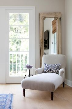 Relax With A Good Book In This Bedroom Reading Corner Featuring A Gray  Chaise Lounge Topped