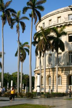 The left side of The Capitol in Centro Habana, Havana, Cuba