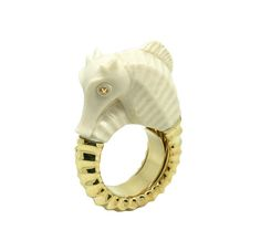 Mammoth Collection, Gold Sea horse ring, 18ct yellow gold  and mammoth ivory ring