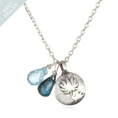 Lotus Charm Necklace with Aquamarine (for Z) and Blue Topaz (for me and Ro)