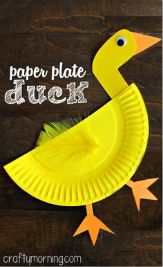 Paper Plate Duck Craft for Kids - Fun art project to make! #kidscraft #animalcraft #preschool