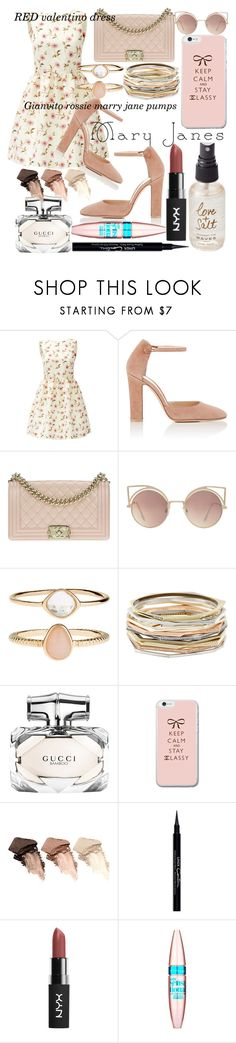 """Pink marry Jane's"" by far-out-fia ❤ liked on Polyvore featuring RED Valentino, Gianvito Rossi, Chanel, MANGO, Accessorize, Kendra Scott, Gucci, Urban Decay, Givenchy and Maybelline"