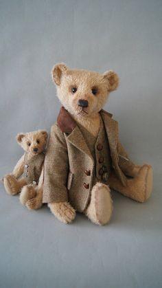 Mark een 46 CM licht bruin mohair teddybeer