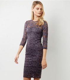 AX Paris Purple Lace 3/4 Sleeve Midi Dress | New Look