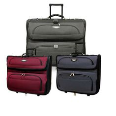 Keep your clothes protected on your next business trip with this durable luxurious travel garment bag by Amsterdam. This bag features two-tone polyester fabric construction on the front panel and 600D polyester on the rest of the bag.
