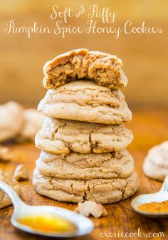 Soft & Puffy Pumpkin Spice Honey Cookies - Sweetened with honey and they're melt-in-your-mouth soft, puffy, & not at all cakey!
