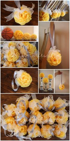 14 canary yellow 6 inch wedding pomanders - RESERVED for Heather. $10 each - 18 colors available - custom wedding flower balls - hanging rose ball - wedding pomander - canary yellow gray wedding color chart - psalm117.etsy.com