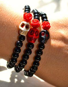 Set of 3 Beaded Stretch Bracelets in Black by uniquebeadingbyme #skulls