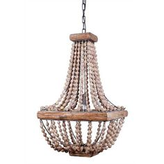 Square Wooden Beaded Chandelier – Laurier Blanc | Unique Home Decor From Around The World