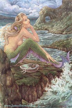 Awaiting Love Mermaid 8.5x11 Signed Print including by brownieman, $11.50