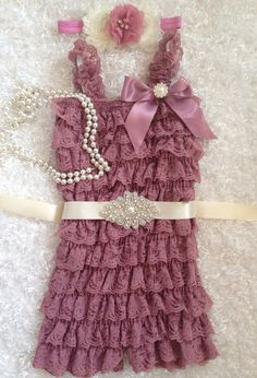Mauve/Dusty pink/Rosy Mauve Lace Romper/Vintage Ivory Sash/Ivory Dust Pink Headband/First Birthday/Flower Girl/ Pageant/Vintage Birthday