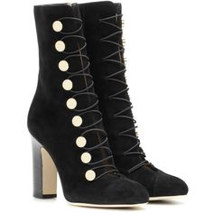 Jimmy Choo Malta 100 Suede Ankle Boots (19,115 EGP) ❤ liked on Polyvore featuring shoes, boots, ankle booties, black, bootie boots, short suede boots, black boots, suede ankle booties and black booties