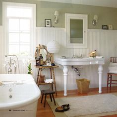 Impractical sink (no storage) but I like the window, beadboard & paint color
