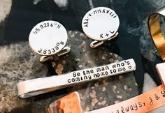 Love Message silver Tie bar - cooper gold Tie bar - Hand stamped Tie Bar – Neck Tie, Customized Tie Bar Clasp, One of a Kind holder Gold Tie, Silver Tie, Custom Ties, Wedding Ties, Hand Art, Love Messages, Photo Jewelry, Food Grade, Boyfriend Gifts