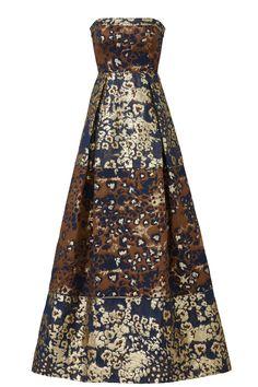 Aidan Mattox Bronze Jacquard Gown
