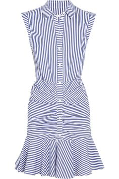 Veronica Beard | Ruched striped cotton-poplin mini dress | NET-A-PORTER.COM