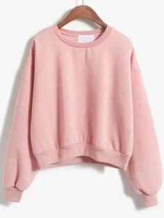 Round Neck Crop Pink Sweatshirt