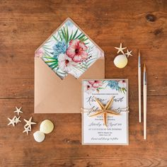 Beach Tropical wedding invitation with real starfish Watercolor Wedding Invitations, Floral Invitation, Wedding Invitation Wording, Beach Invitations, Cheap Invitations, Invitation Kits, Invitations Online, Invitation Paper, Bespoke Wedding Invitations