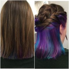 This new hair trend give you the magical rainbow highlights of your dreams. underlights hair Underlights: the secret new hair trend everyone's talking about Hair Color Underneath, Under Hair Color, Under Hair Dye, Hidden Hair Color, Hidden Rainbow Hair, Underlights Hair, New Hair Trends, Hot Hair Colors, Purple Hair