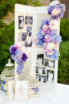 shabby chic vintage purple family photo wedding decorations / http://www.himisspuff.com/ideas-to-display-wedding-photos/5/