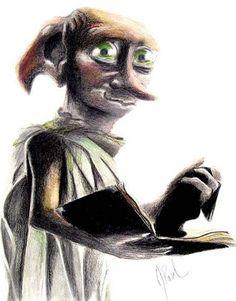"""Got a sock,"" said Dobby in disbelief. ""Master threw it, and Dobby caught it, and Dobby – Dobby is free"". (by Jess Paul)"
