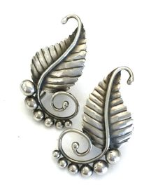 Sterling Silver Leaf Earrings, Swirling Leaf Design, Six Sterling Domes, Oxidized Sterling, Screw Back Earrings, Hallmarked Sterling, 1950s