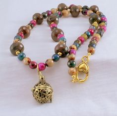Necklace with Faceted Colorful Agate and Fire by BlingbyDonna, $42.00